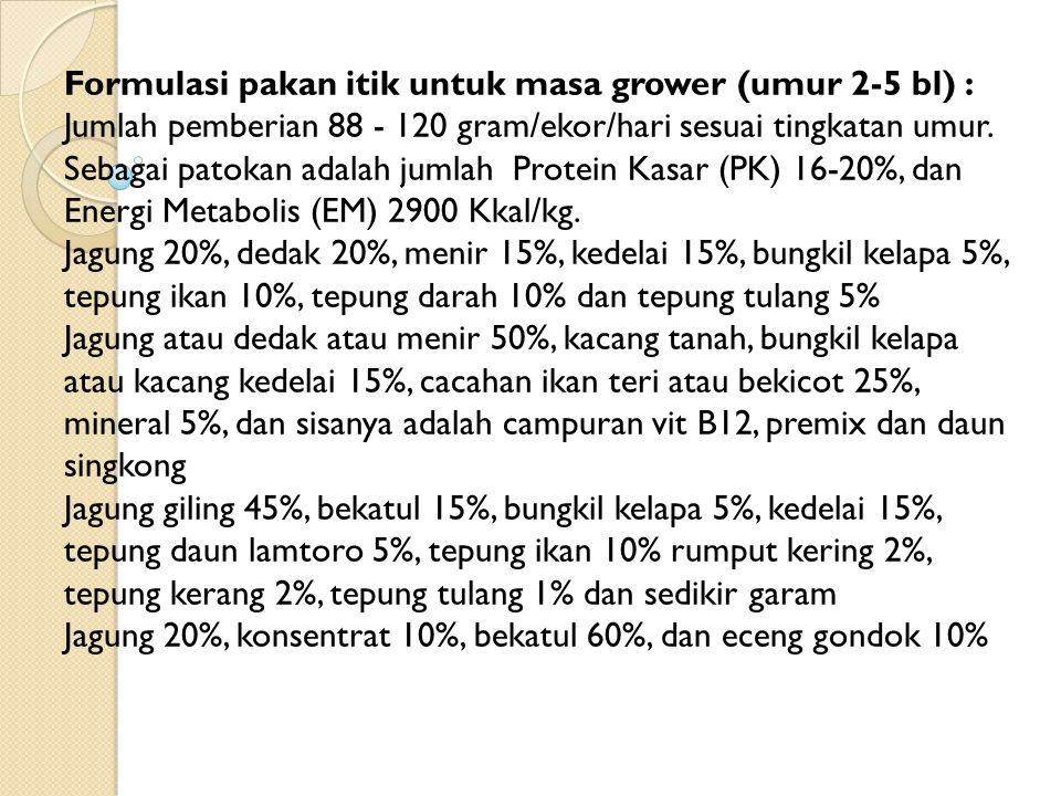Formulasi pakan itik untuk masa grower (umur 2-5 bl) : Jumlah pemberian 88 - 120 gram/ekor/hari sesuai tingkatan umur. Sebagai patokan adalah jumlah P