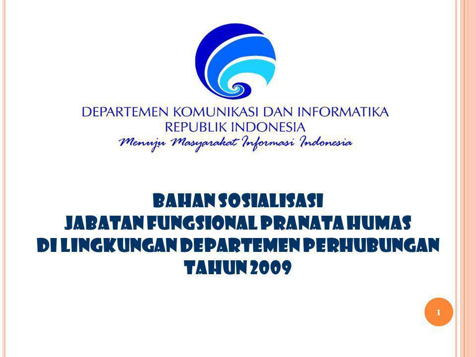 1 BAHAN SOSIALISASI JABATAN FUNGSIONAL PRANATA HUMAS DI LINGKUNGAN DEPARTEMEN PERHUBUNGAN TAHUN 2009