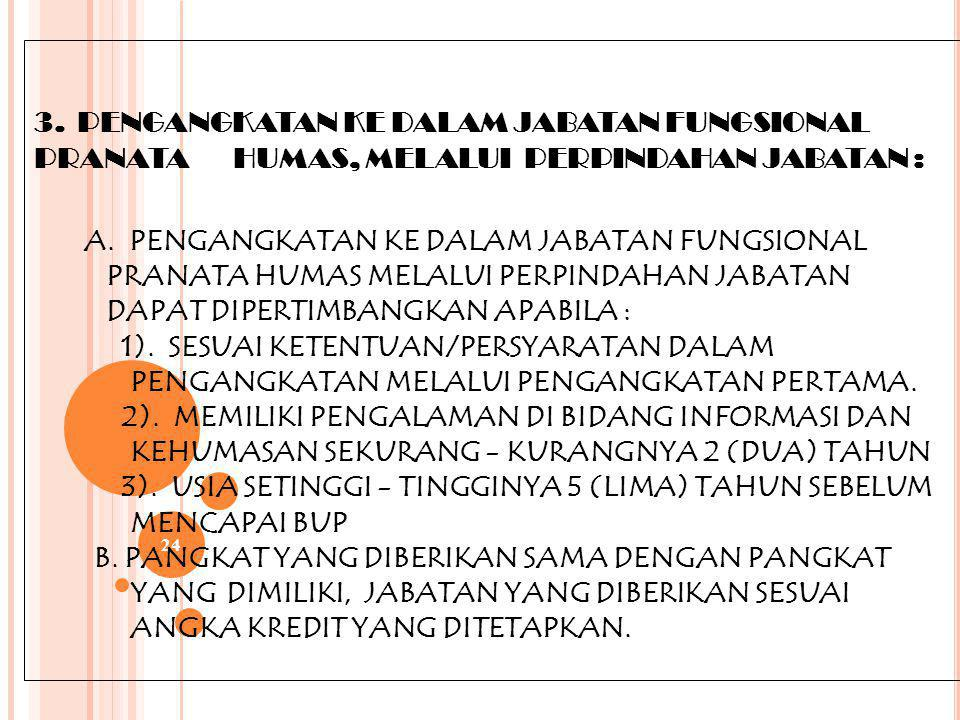 23 B.PERSYARATAN: PRANATA HUMAS TK TERAMPIL : 1).BERIJAZAH SLTA SESUAI KWALIFIKASI YANG DITENTUKAN 2).PANGKAT SERENDAH-RENDAHNYA PENGATUR MUDA II/ a 3