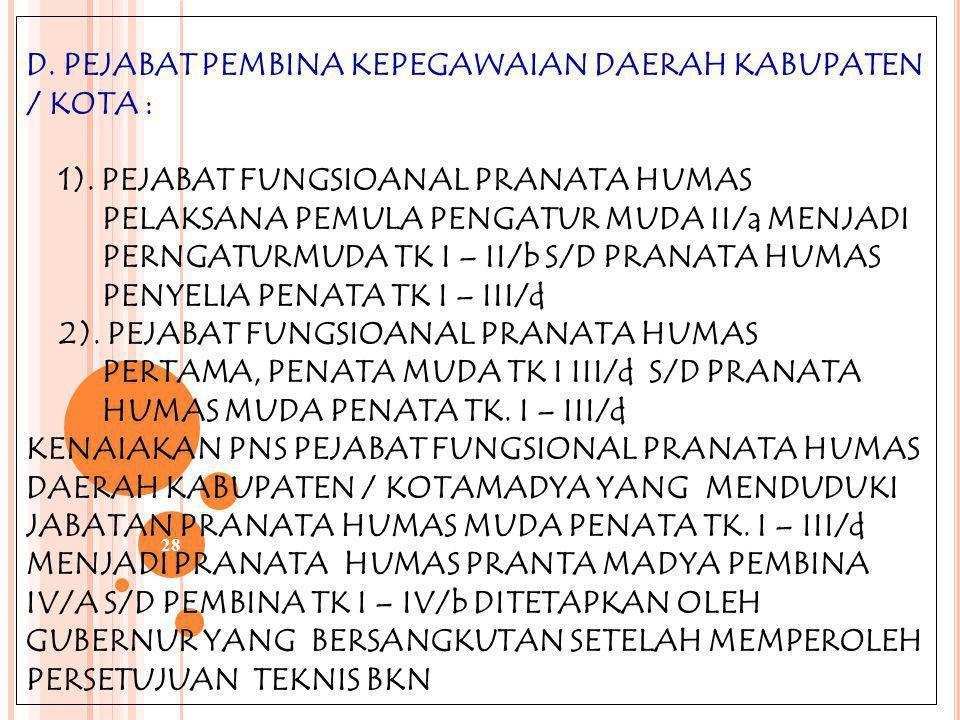 27 B. PEJABAT PEMBINA KEPEGAWAIAN PUSAT : 1) PEJABAT FUNGSIONAL PRANATA HUMAS PELAKSANA PEMULA PENGATUR MUDA II/ a MENJADI PENGATUR MUDA TK. I – II/b