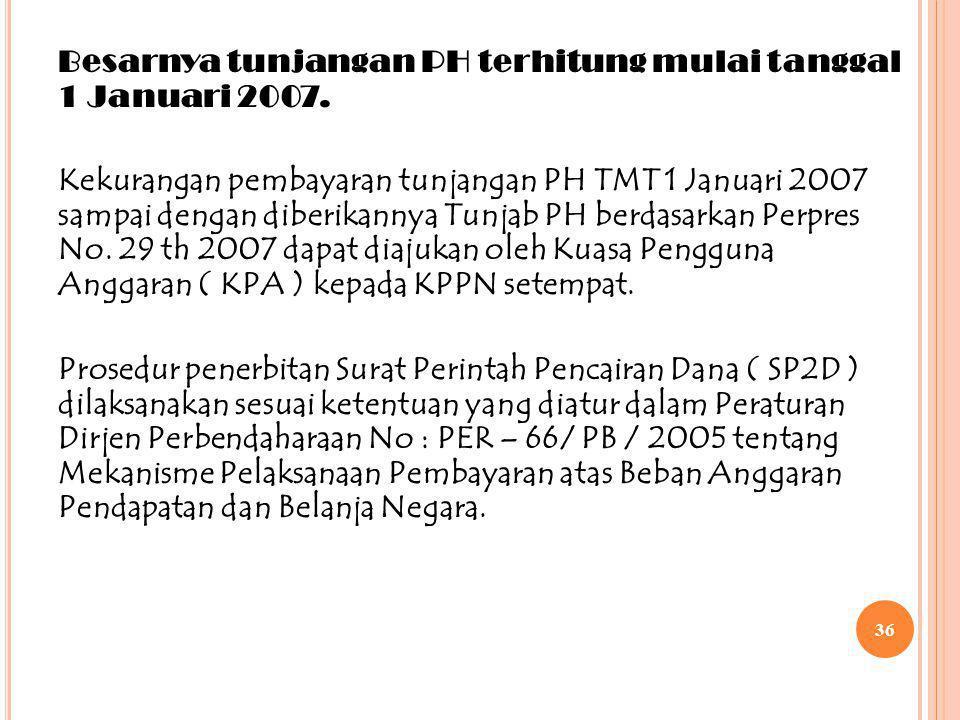 35 S URAT E DARAN D ITJEN P ERBENDAHARAAN N O : SE – 69 / PB / 2007 IDasar Hukum Peraturan Presiden No: 29 Tahun 2007, tentang Tunjangan Jabatan Jabat