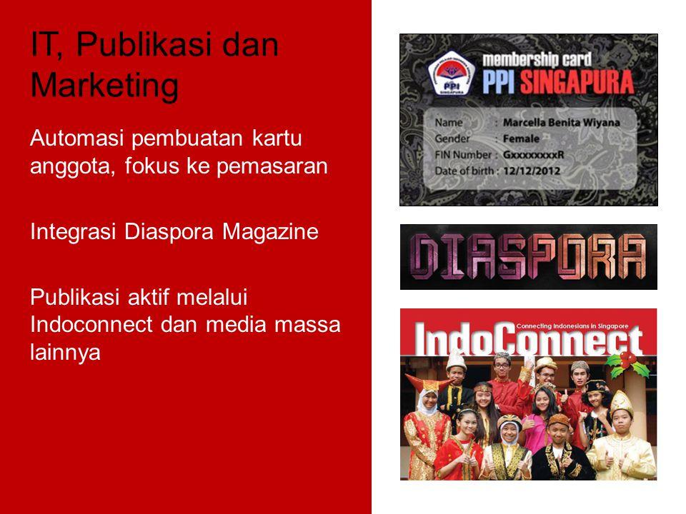 IT, Publikasi dan Marketing Automasi pembuatan kartu anggota, fokus ke pemasaran Integrasi Diaspora Magazine Publikasi aktif melalui Indoconnect dan media massa lainnya