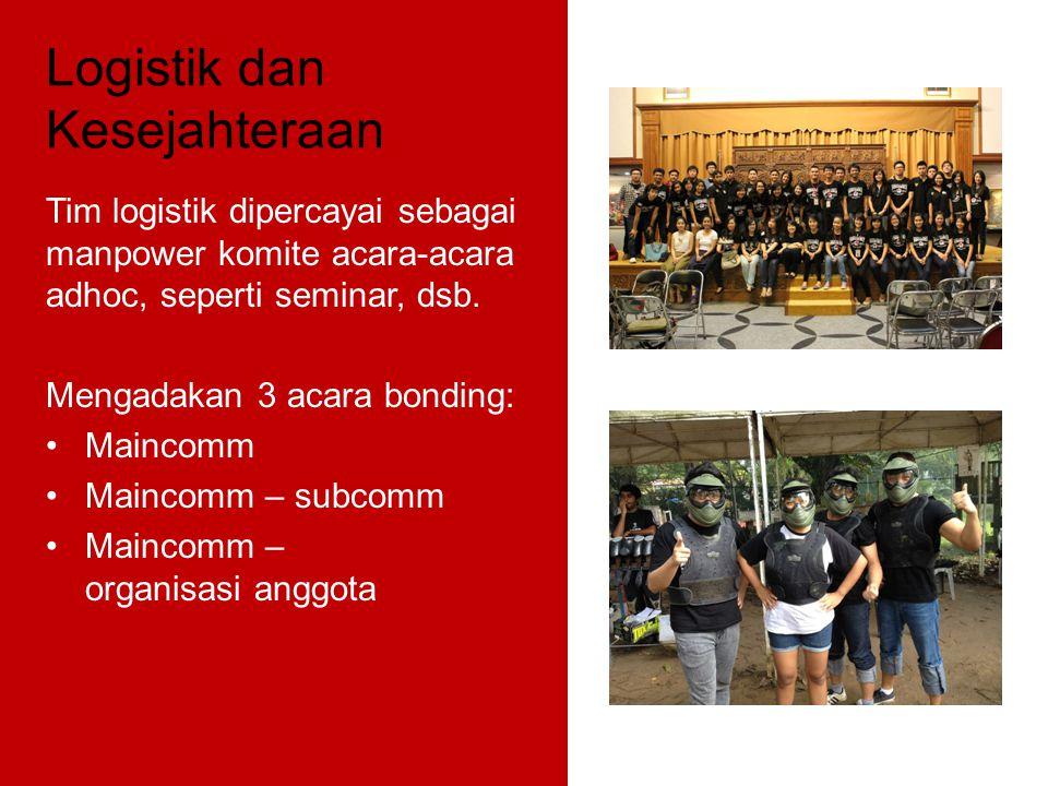 Logistik dan Kesejahteraan Tim logistik dipercayai sebagai manpower komite acara-acara adhoc, seperti seminar, dsb. Mengadakan 3 acara bonding: Mainco