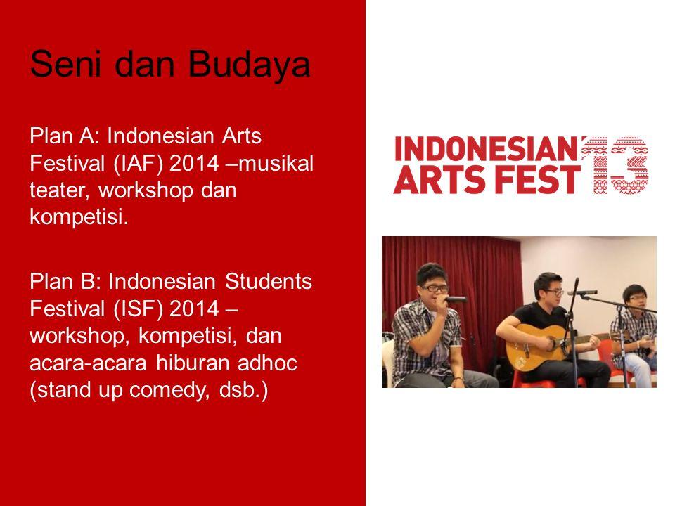 Seni dan Budaya Plan A: Indonesian Arts Festival (IAF) 2014 –musikal teater, workshop dan kompetisi. Plan B: Indonesian Students Festival (ISF) 2014 –