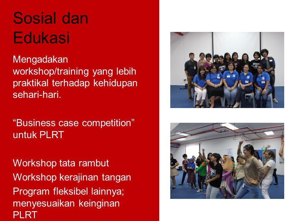 "Sosial dan Edukasi Mengadakan workshop/training yang lebih praktikal terhadap kehidupan sehari-hari. ""Business case competition"" untuk PLRT Workshop t"