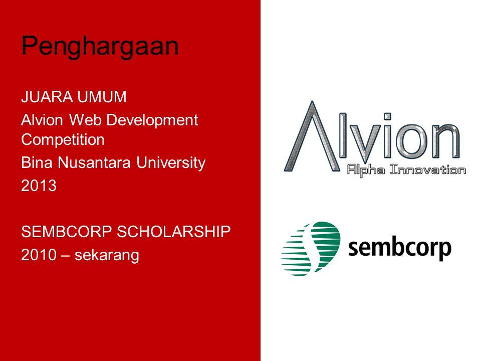 Penghargaan JUARA UMUM Alvion Web Development Competition Bina Nusantara University 2013 SEMBCORP SCHOLARSHIP 2010 – sekarang
