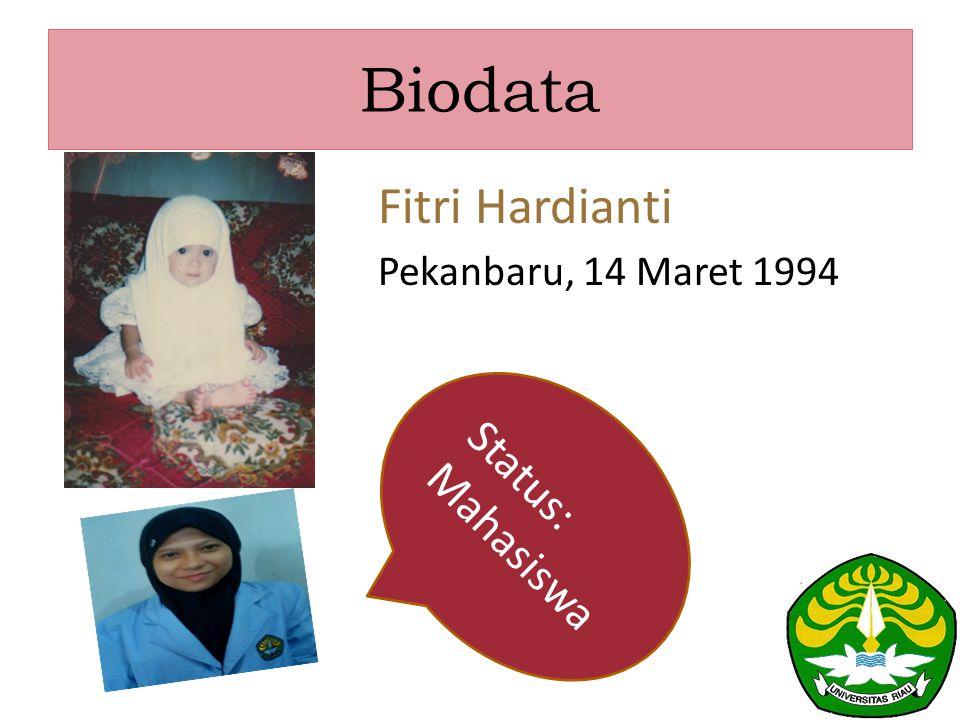 Biodata Fitri Hardianti Pekanbaru, 14 Maret 1994 Status: Mahasiswa