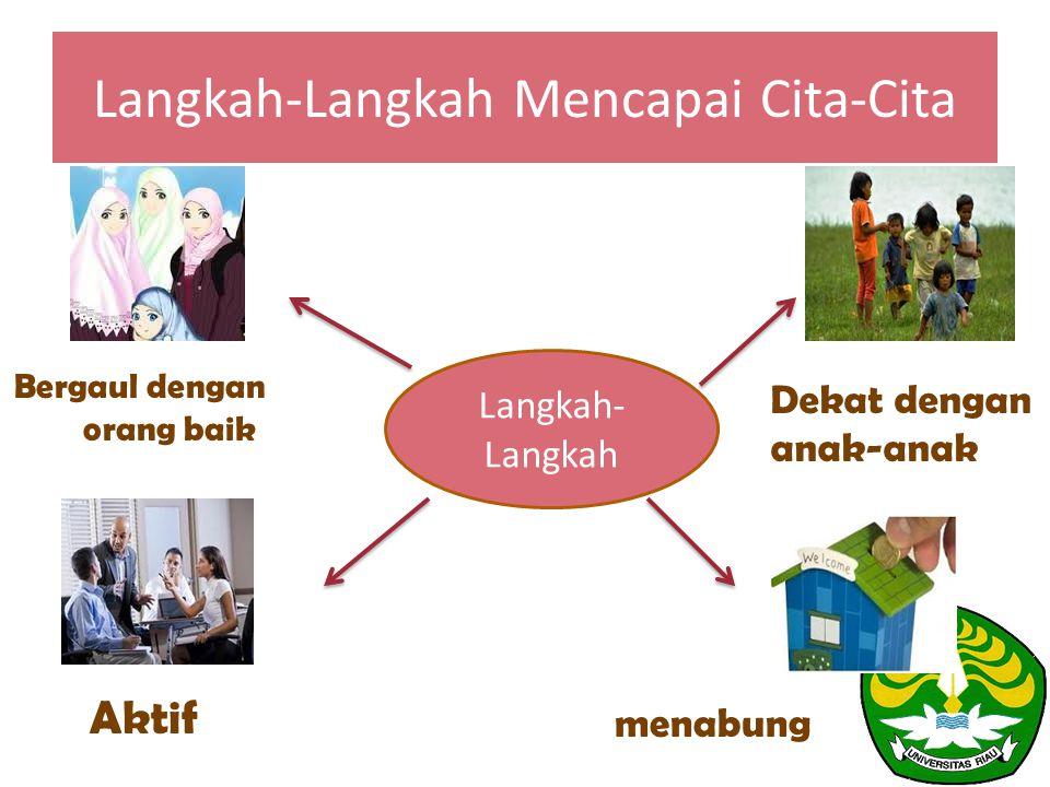 Langkah-Langkah Mencapai Cita-Cita Langkah- Langkah Bergaul dengan orang baik Dekat dengan anak-anak Aktif menabung