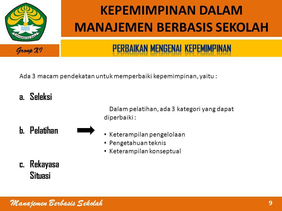 9 Manajemen Berbasis Sekolah KEPEMIMPINAN DALAM MANAJEMEN BERBASIS SEKOLAH Ada 3 macam pendekatan untuk memperbaiki kepemimpinan, yaitu : a.Seleksi b.