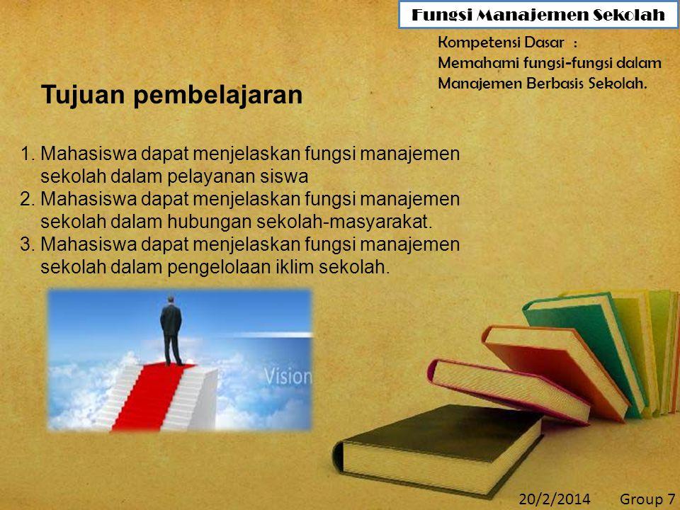 20/2/2014Group 7 Fungsi Manajemen Sekolah Tujuan pembelajaran 1.