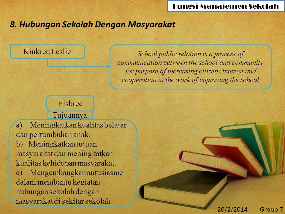 8. Hubungan Sekolah Dengan Masyarakat School public relation is a process of communication between the school and community for purpose of increasing