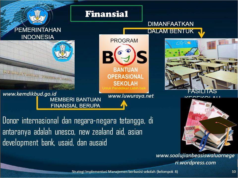 Finansial FASILITAS KESEKOLAH MEMBERI BANTUAN FINANSIAL BERUPA DIMANFAATKAN DALAM BENTUK PEMERINTAHAN INDONESIA Donor internasional dan negara-negara tetangga, di antaranya adalah unesco, new zealand aid, asian development bank, usaid, dan ausaid www.soalujianbeasiswaluarnege ri.wordpress.com www.kemdikbud.go.id www.luwuraya.net 10 Strategi Implementasi Manajemen berbasisi sekolah (kelompok 8)