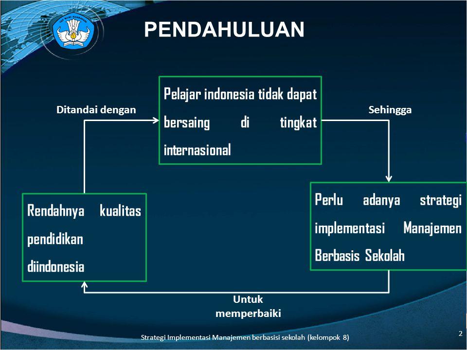 PENDAHULUAN Rendahnya kualitas pendidikan diindonesia Pelajar indonesia tidak dapat bersaing di tingkat internasional Perlu adanya strategi implementasi Manajemen Berbasis Sekolah Ditandai denganSehingga Untuk memperbaiki 2 Strategi Implementasi Manajemen berbasisi sekolah (kelompok 8)