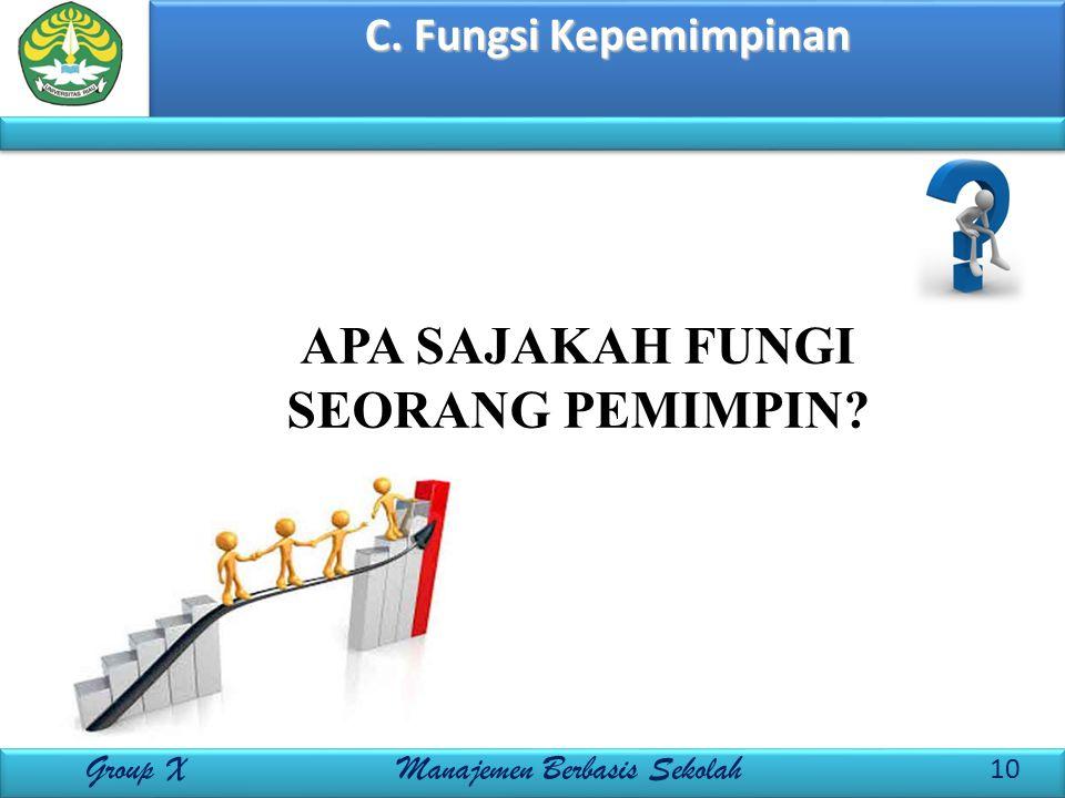 C. Fungsi Kepemimpinan 10 Group X Manajemen Berbasis Sekolah APA SAJAKAH FUNGI SEORANG PEMIMPIN?