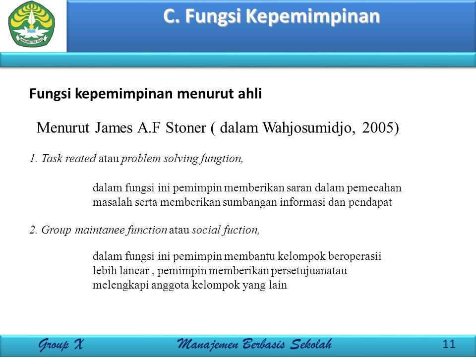 C. Fungsi Kepemimpinan 11 Group X Manajemen Berbasis Sekolah Fungsi kepemimpinan menurut ahli Menurut James A.F Stoner ( dalam Wahjosumidjo, 2005) 1.