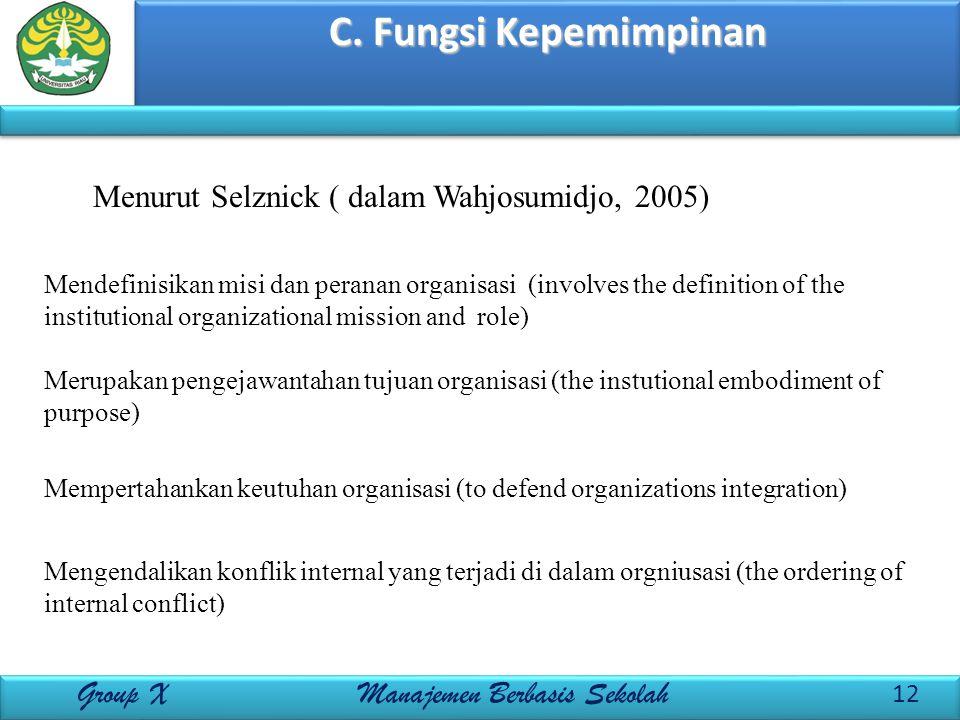 C. Fungsi Kepemimpinan 12 Group X Manajemen Berbasis Sekolah Menurut Selznick ( dalam Wahjosumidjo, 2005) Mendefinisikan misi dan peranan organisasi (