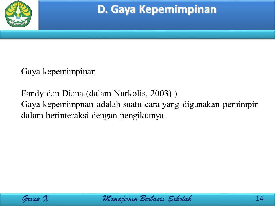 D. Gaya Kepemimpinan 14 Group X Manajemen Berbasis Sekolah Gaya kepemimpinan Fandy dan Diana (dalam Nurkolis, 2003) ) Gaya kepemimpnan adalah suatu ca