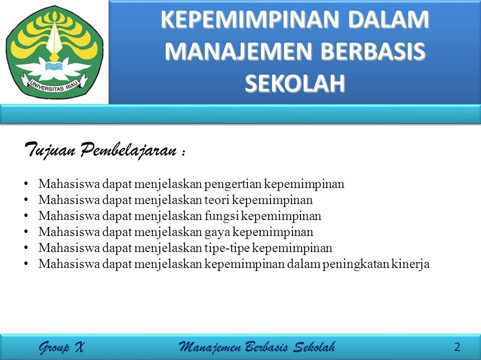A. Definisi Kepemimpinan 3 Group X Manajemen Berbasis Sekolah Apa itu kepemimpinan?