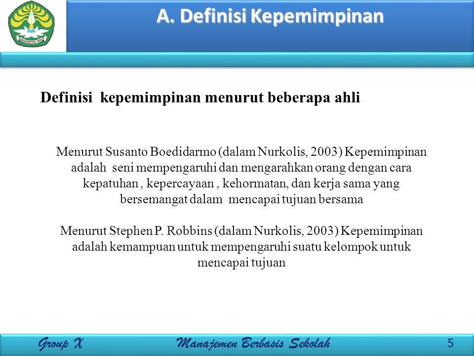 A. Definisi Kepemimpinan 5 Group X Manajemen Berbasis Sekolah Menurut Susanto Boedidarmo (dalam Nurkolis, 2003) Kepemimpinan adalah seni mempengaruhi