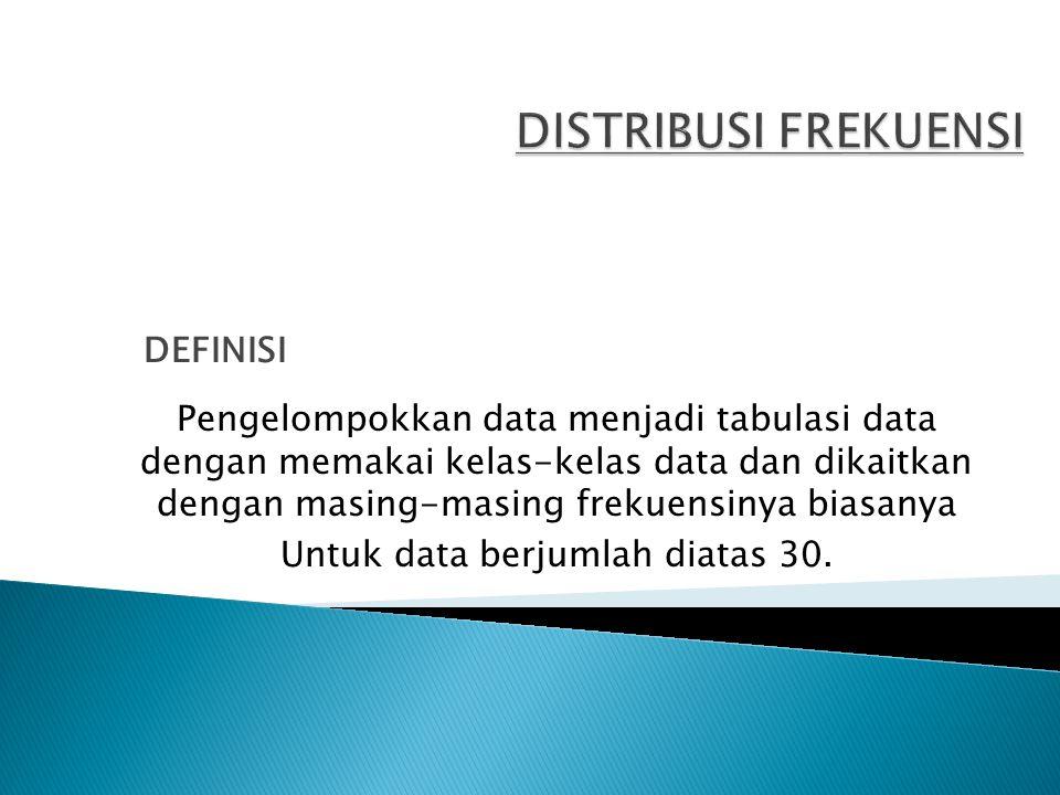 Pengelompokkan data menjadi tabulasi data dengan memakai kelas-kelas data dan dikaitkan dengan masing-masing frekuensinya biasanya Untuk data berjumla