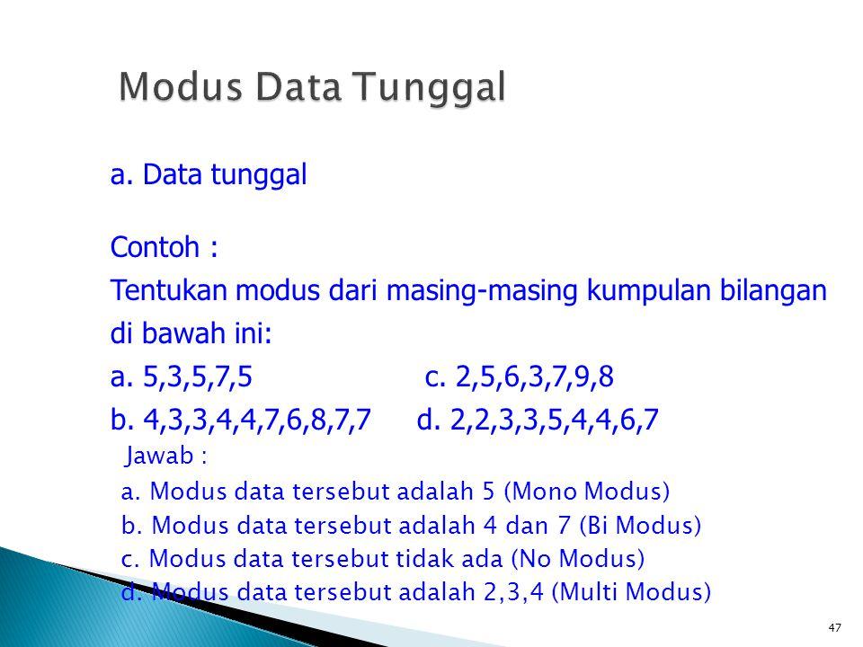 Jawab : a. Modus data tersebut adalah 5 (Mono Modus) b. Modus data tersebut adalah 4 dan 7 (Bi Modus) c. Modus data tersebut tidak ada (No Modus) d. M