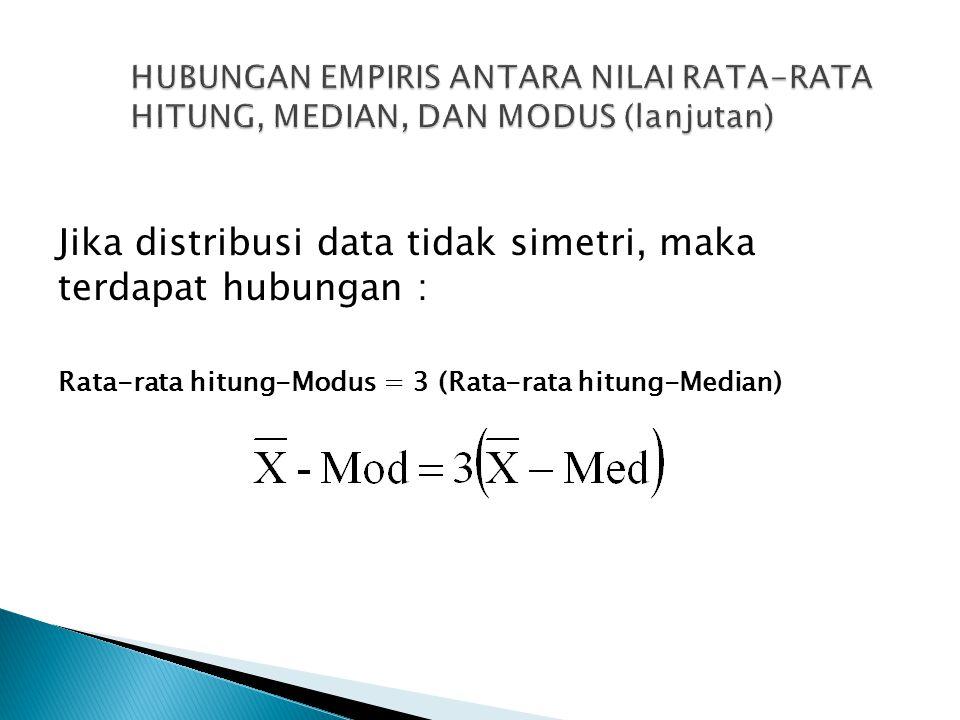 Jika distribusi data tidak simetri, maka terdapat hubungan : Rata-rata hitung-Modus = 3 (Rata-rata hitung-Median)