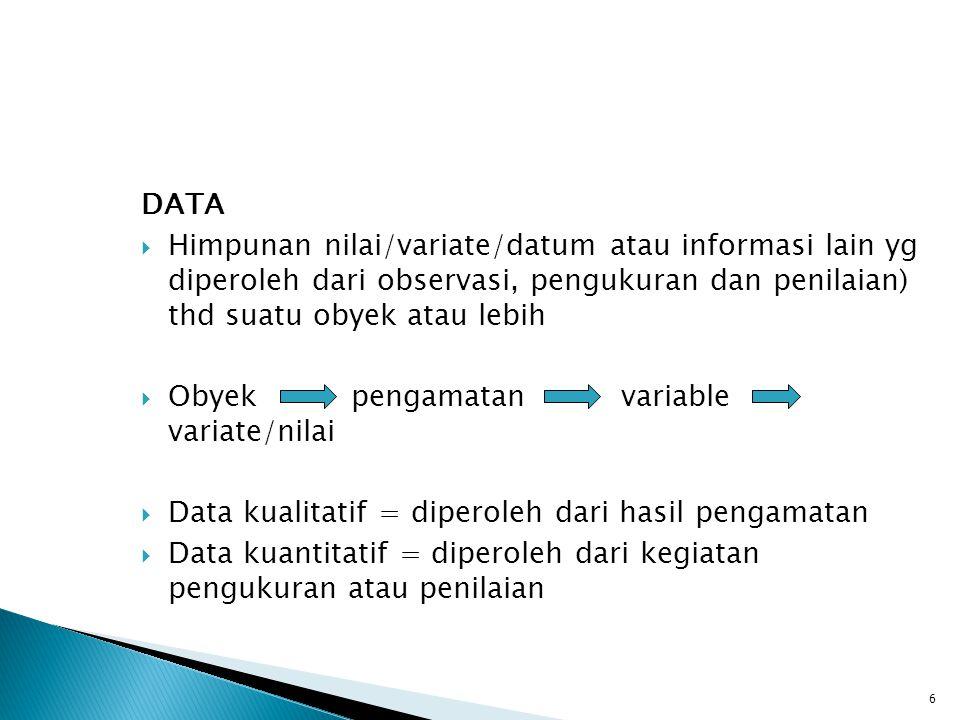 DATA  Himpunan nilai/variate/datum atau informasi lain yg diperoleh dari observasi, pengukuran dan penilaian) thd suatu obyek atau lebih  Obyek peng