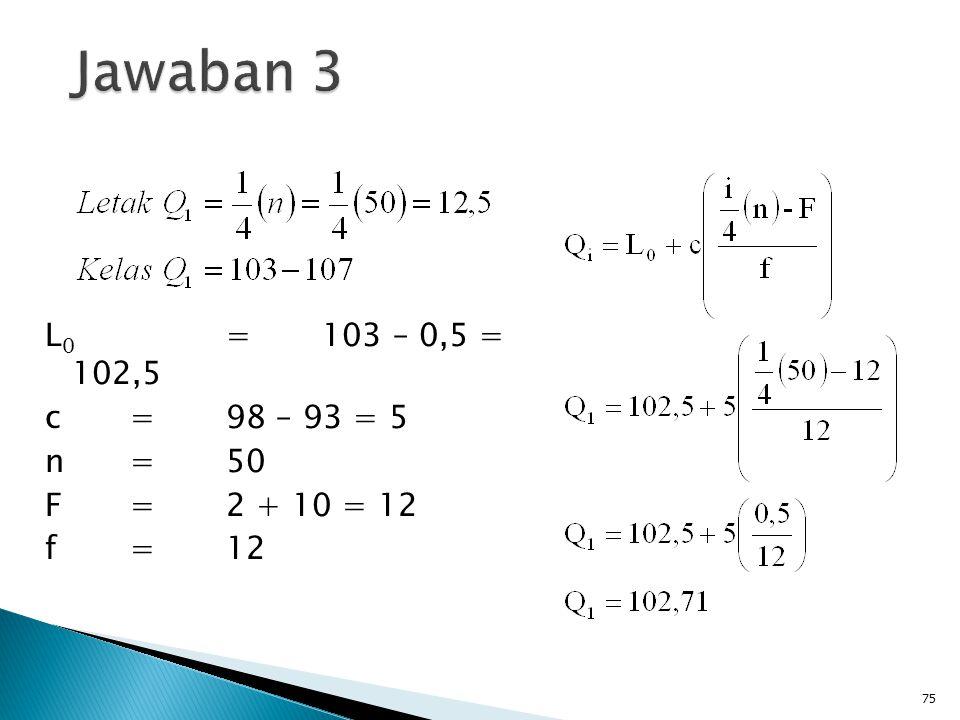 L 0 =103 – 0,5 = 102,5 c=98 – 93 = 5 n=50 F=2 + 10 = 12 f=12 75