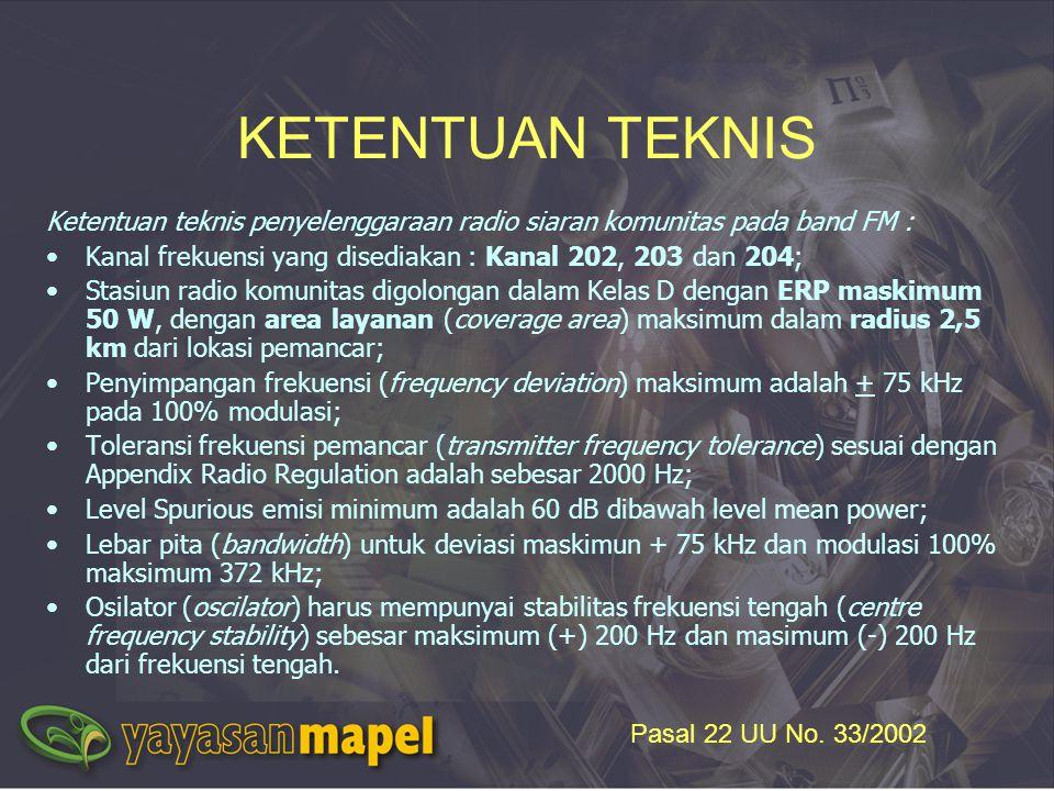 Ketentuan teknis penyelenggaraan radio siaran komunitas pada band FM : Kanal frekuensi yang disediakan : Kanal 202, 203 dan 204; Stasiun radio komunit