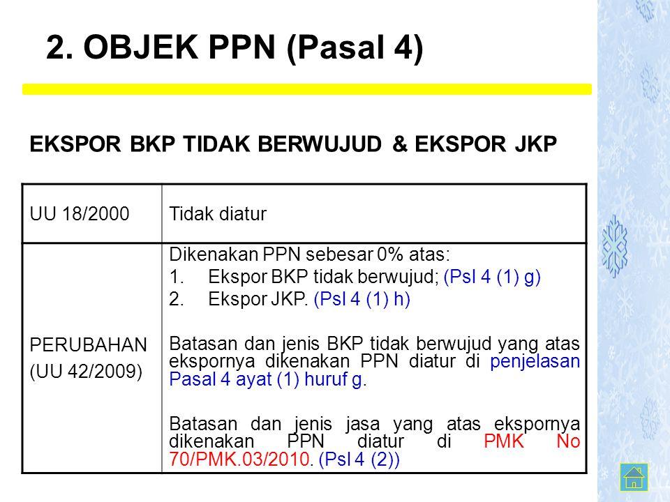 UU 18/2000Tidak diatur PERUBAHAN (UU 42/2009) Dikenakan PPN sebesar 0% atas: 1.Ekspor BKP tidak berwujud; (Psl 4 (1) g) 2.Ekspor JKP. (Psl 4 (1) h) Ba