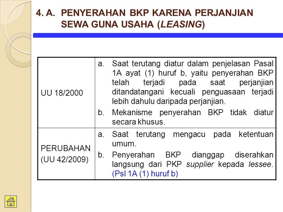 UU 18/2000 a.Saat terutang diatur dalam penjelasan Pasal 1A ayat (1) huruf b, yaitu penyerahan BKP telah terjadi pada saat perjanjian ditandatangani k