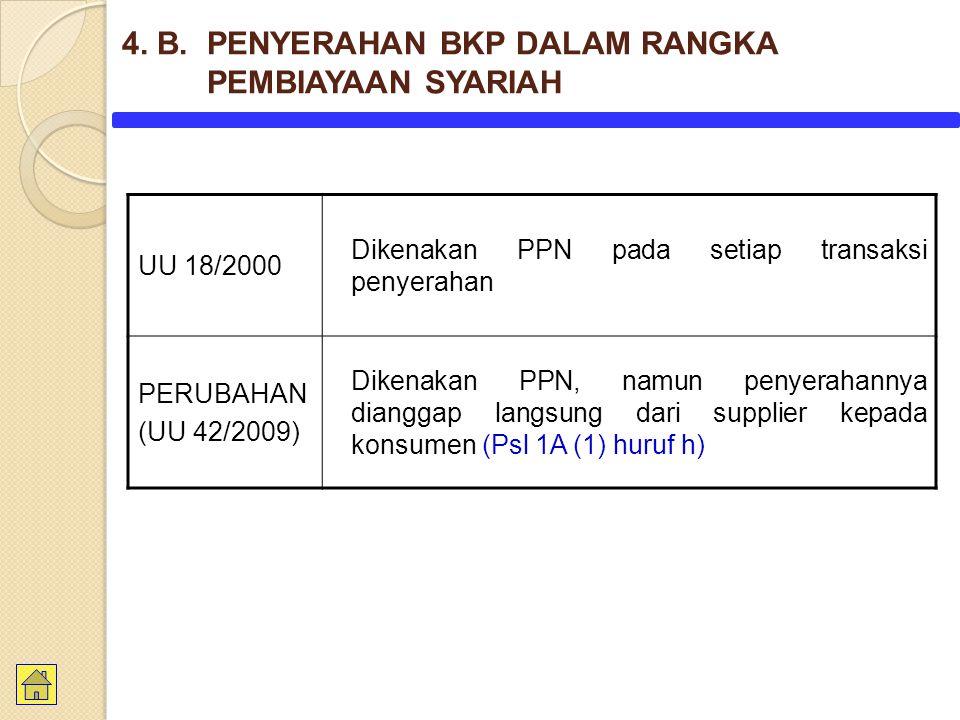 UU 18/2000 Dikenakan PPN pada setiap transaksi penyerahan PERUBAHAN (UU 42/2009) Dikenakan PPN, namun penyerahannya dianggap langsung dari supplier ke
