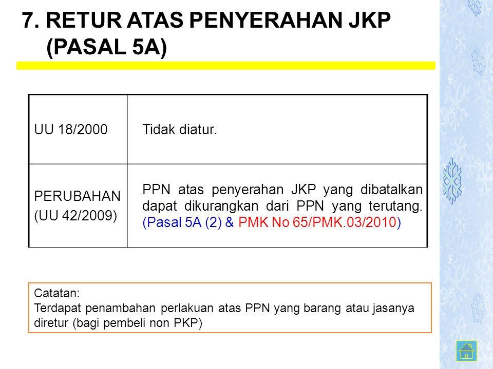 UU 18/2000Tidak diatur. PERUBAHAN (UU 42/2009) PPN atas penyerahan JKP yang dibatalkan dapat dikurangkan dari PPN yang terutang. (Pasal 5A (2) & PMK N