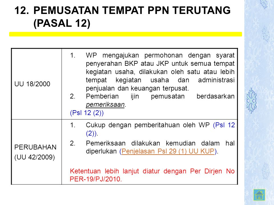 UU 18/2000 1.WP mengajukan permohonan dengan syarat penyerahan BKP atau JKP untuk semua tempat kegiatan usaha, dilakukan oleh satu atau lebih tempat k