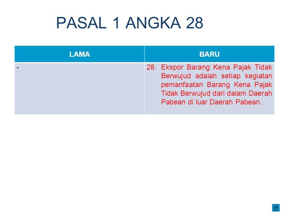 PASAL 1 ANGKA 28 LAMABARU -28.Ekspor Barang Kena Pajak Tidak Berwujud adalah setiap kegiatan pemanfaatan Barang Kena Pajak Tidak Berwujud dari dalam D