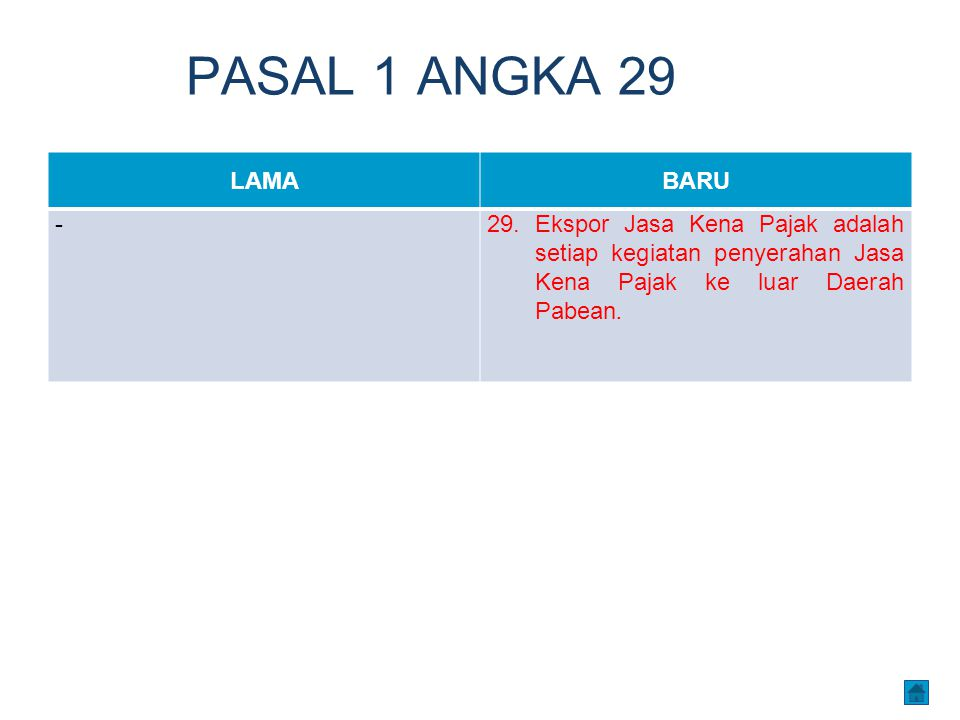 PASAL 1 ANGKA 29 LAMABARU -29. Ekspor Jasa Kena Pajak adalah setiap kegiatan penyerahan Jasa Kena Pajak ke luar Daerah Pabean.