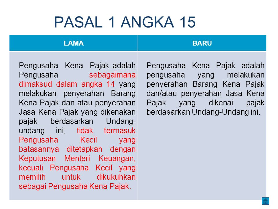 PASAL 1 ANGKA 15 LAMABARU Pengusaha Kena Pajak adalah Pengusaha sebagaimana dimaksud dalam angka 14 yang melakukan penyerahan Barang Kena Pajak dan at