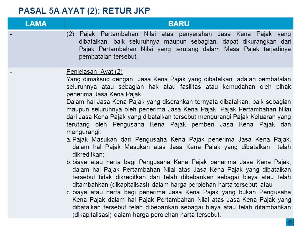 PASAL 5A AYAT (2): RETUR JKP LAMABARU -(2)Pajak Pertambahan Nilai atas penyerahan Jasa Kena Pajak yang dibatalkan, baik seluruhnya maupun sebagian, da