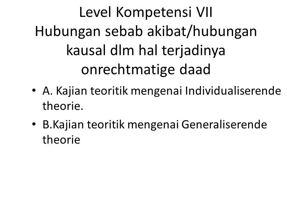 Level Kompetensi VII Hubungan sebab akibat/hubungan kausal dlm hal terjadinya onrechtmatige daad A.