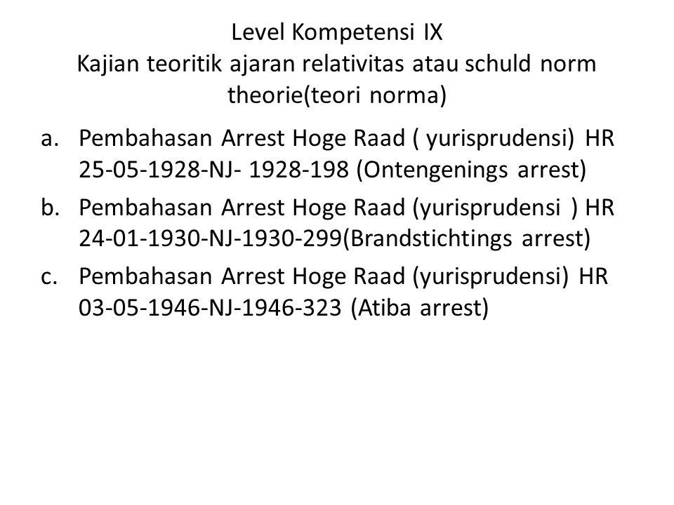Level Kompetensi IX Kajian teoritik ajaran relativitas atau schuld norm theorie(teori norma) a.Pembahasan Arrest Hoge Raad ( yurisprudensi) HR 25-05-1928-NJ- 1928-198 (Ontengenings arrest) b.Pembahasan Arrest Hoge Raad (yurisprudensi ) HR 24-01-1930-NJ-1930-299(Brandstichtings arrest) c.Pembahasan Arrest Hoge Raad (yurisprudensi) HR 03-05-1946-NJ-1946-323 (Atiba arrest)