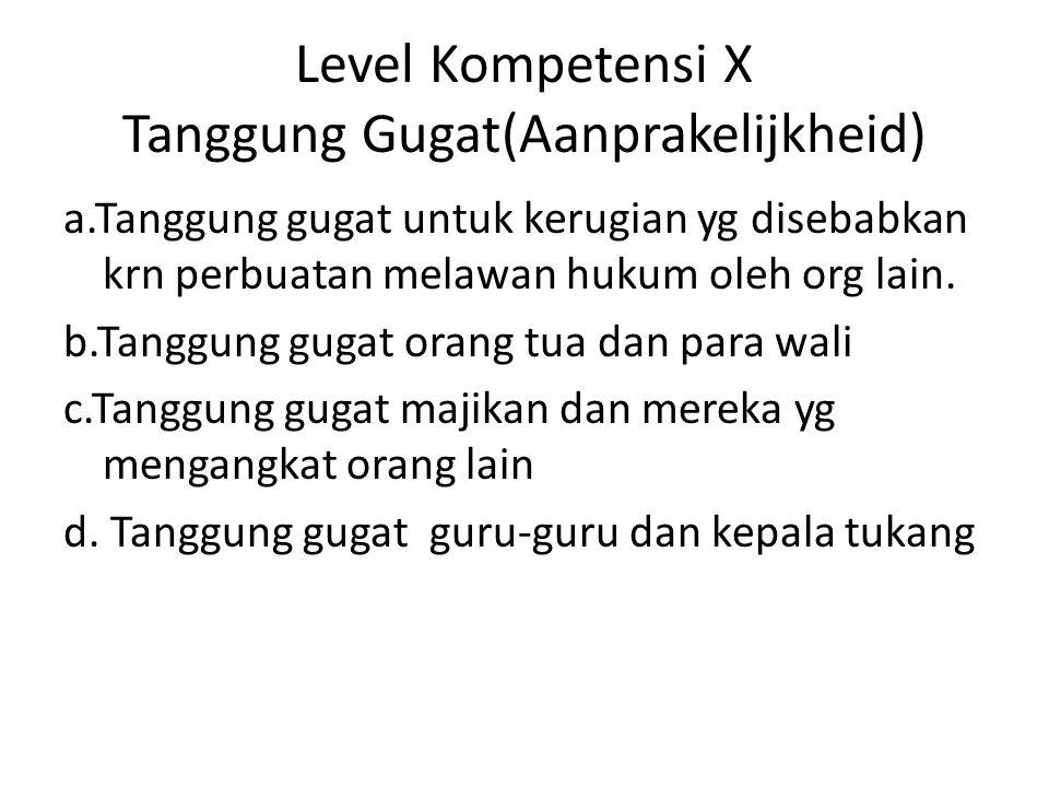 Level Kompetensi X Tanggung Gugat(Aanprakelijkheid) a.Tanggung gugat untuk kerugian yg disebabkan krn perbuatan melawan hukum oleh org lain.