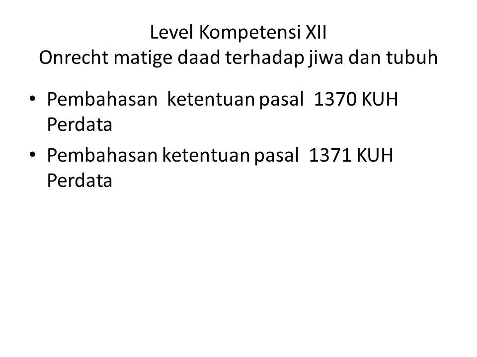 Level Kompetensi XII Onrecht matige daad terhadap jiwa dan tubuh Pembahasan ketentuan pasal 1370 KUH Perdata Pembahasan ketentuan pasal 1371 KUH Perdata