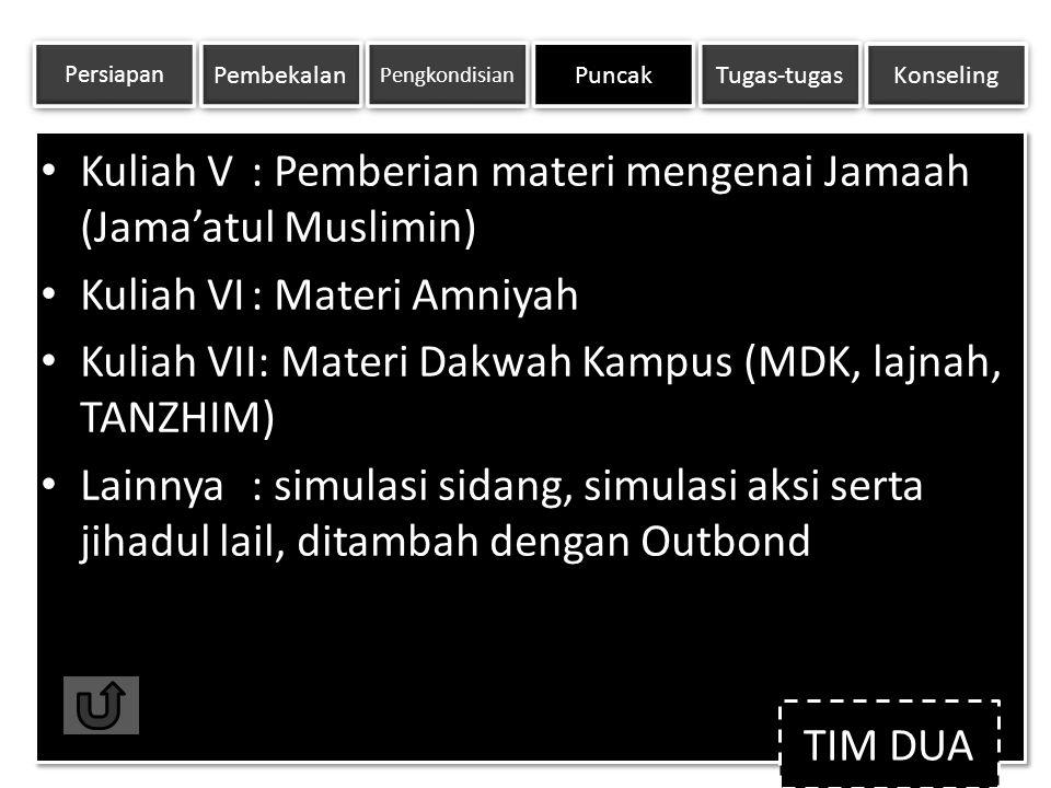 Kuliah V : Pemberian materi mengenai Jamaah (Jama'atul Muslimin) Kuliah VI : Materi Amniyah Kuliah VII: Materi Dakwah Kampus (MDK, lajnah,TANZHIM) Lai
