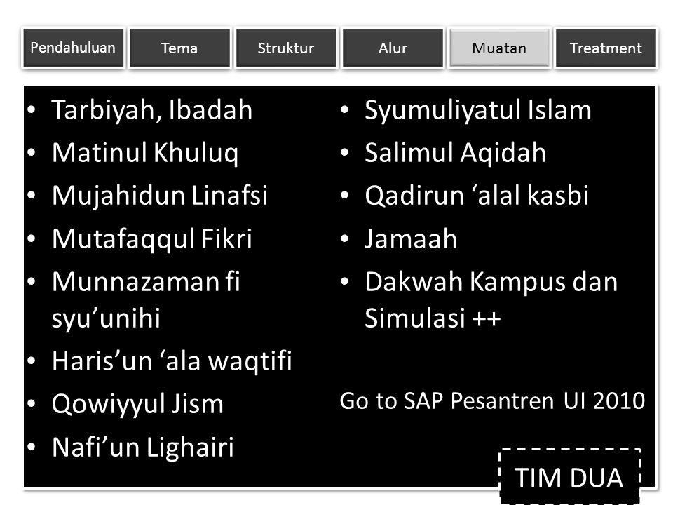 Tarbiyah, Ibadah Matinul Khuluq Mujahidun Linafsi Mutafaqqul Fikri Munnazaman fisyu'unihi Haris'un 'ala waqtifi Qowiyyul Jism Nafi'un Lighairi Syumuli