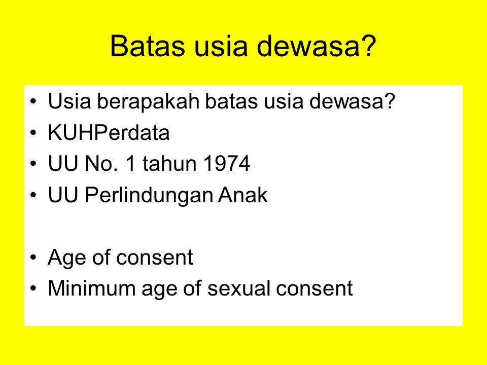 Batas usia dewasa? Usia berapakah batas usia dewasa? KUHPerdata UU No. 1 tahun 1974 UU Perlindungan Anak Age of consent Minimum age of sexual consent