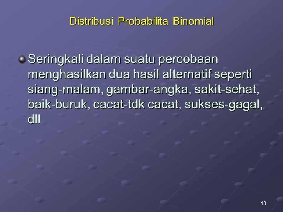 13 Distribusi Probabilita Binomial Seringkali dalam suatu percobaan menghasilkan dua hasil alternatif seperti siang-malam, gambar-angka, sakit-sehat, baik-buruk, cacat-tdk cacat, sukses-gagal, dll