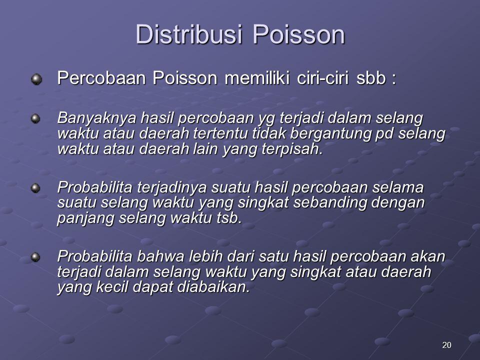20 Distribusi Poisson Percobaan Poisson memiliki ciri-ciri sbb : Banyaknya hasil percobaan yg terjadi dalam selang waktu atau daerah tertentu tidak bergantung pd selang waktu atau daerah lain yang terpisah.