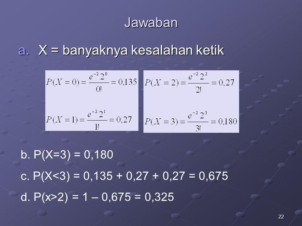 22 Jawaban a.X = banyaknya kesalahan ketik b.P(X=3) = 0,180 c.