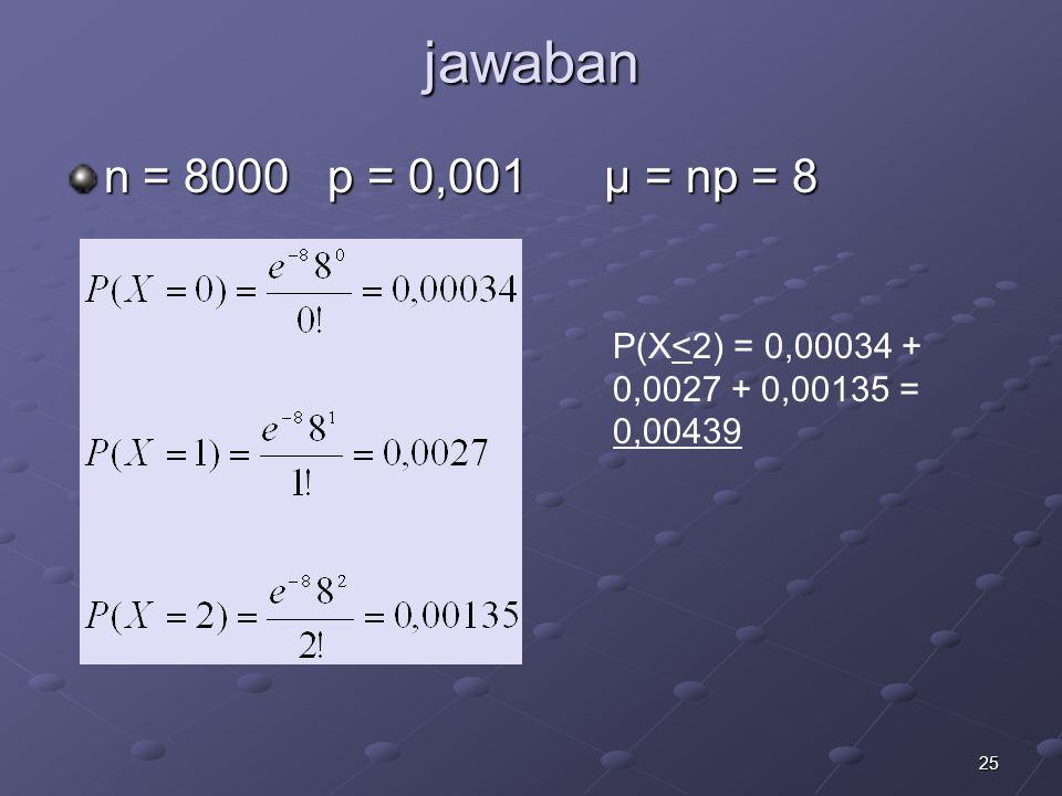 25 jawaban n = 8000 p = 0,001 μ = np = 8 P(X<2) = 0,00034 + 0,0027 + 0,00135 = 0,00439