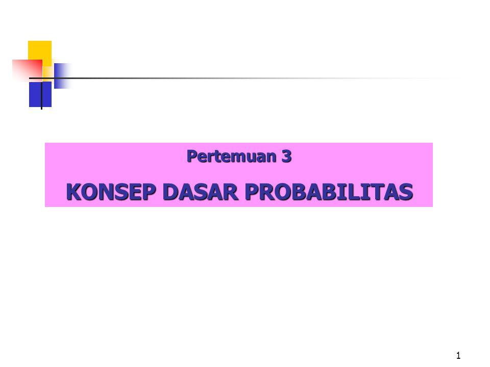 2 Definisi: Probabilitas adalah peluang suatu kejadian.